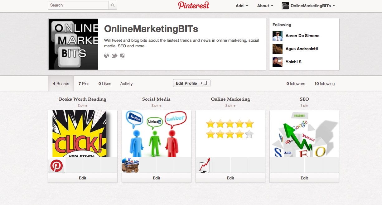 as online marketing blog we were also very interested in this new social media platform that is why we also have set up a pinterest account for
