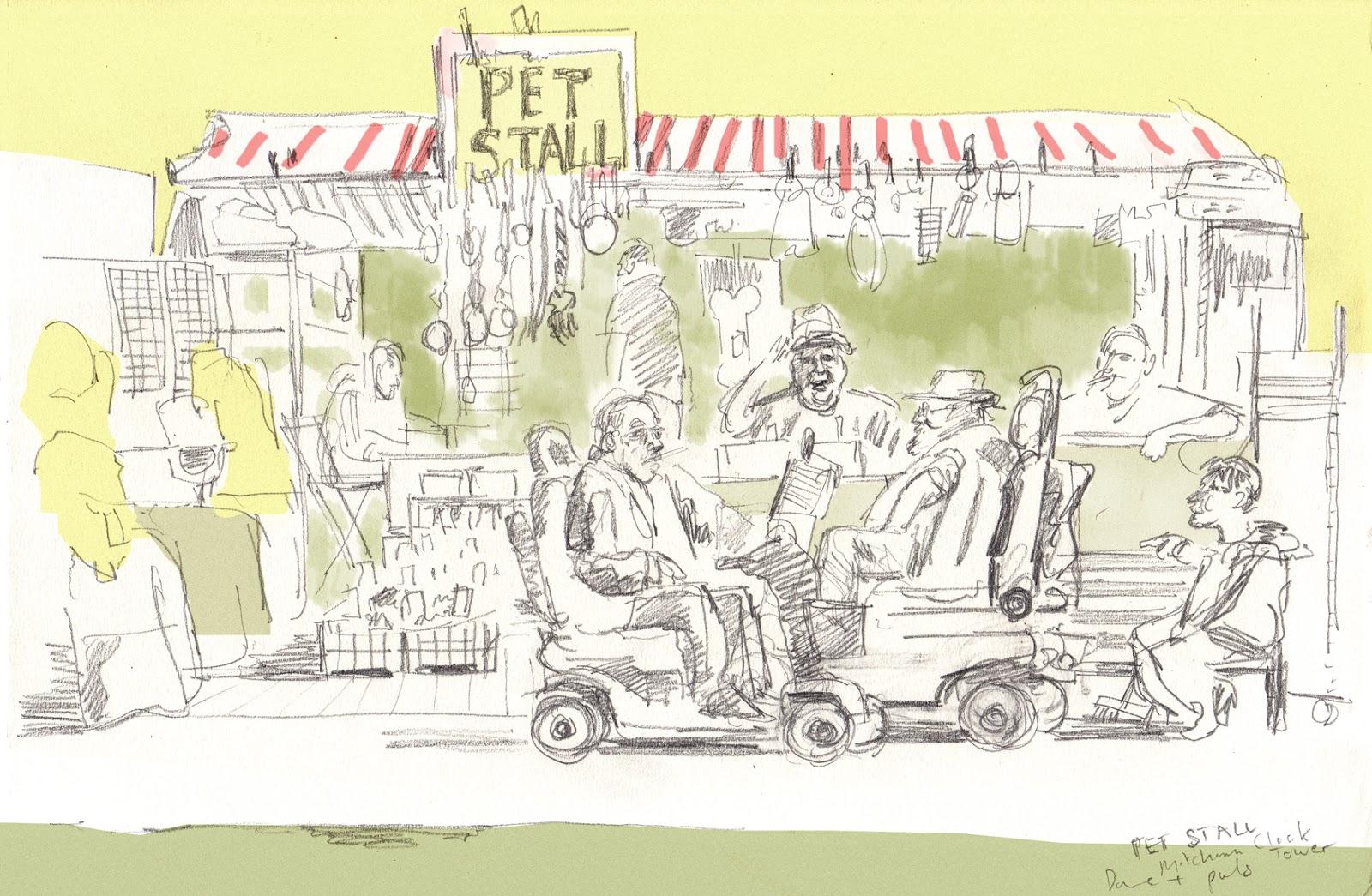Cheltenham Races Sketchbook: Pet Stall framing experiment