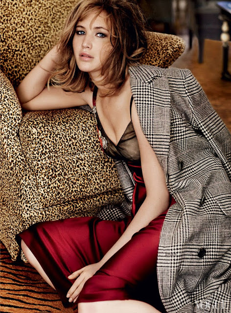 Jennifer Lawrence tweed leopard burgundy blonde photoshoot
