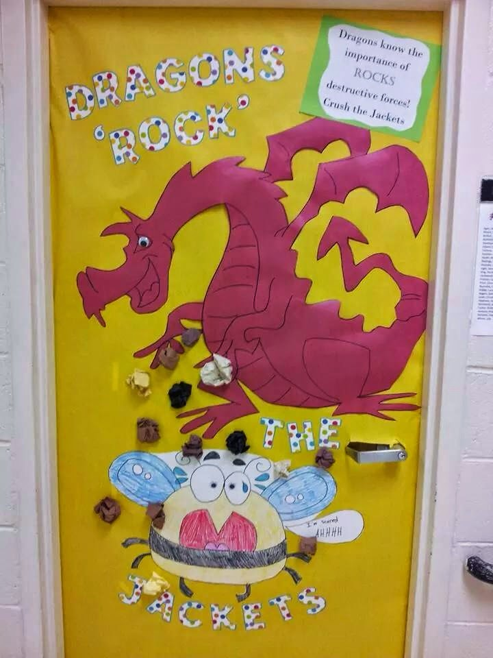 Homerooms participated in a door decoration contest to encourage school spirit before the first home football game. Here is a s&ling of what can be seen ... & Peace Love and Dragon Spirit: Dragon Door Decor