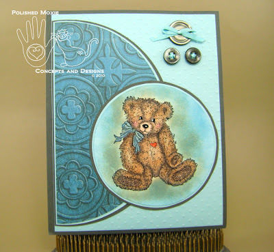 Picture of handmade Teal Teddy Bear Card