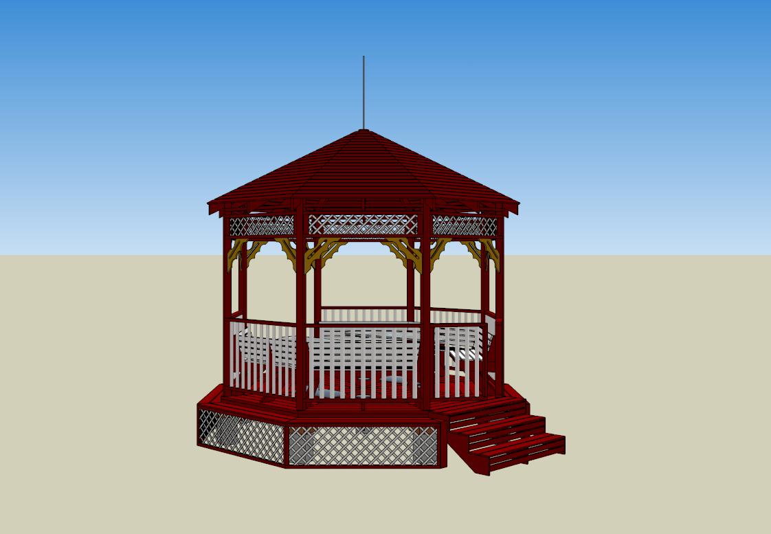 Sample 3d models drawings and 8 square gazebo from google for Gazebo dwg