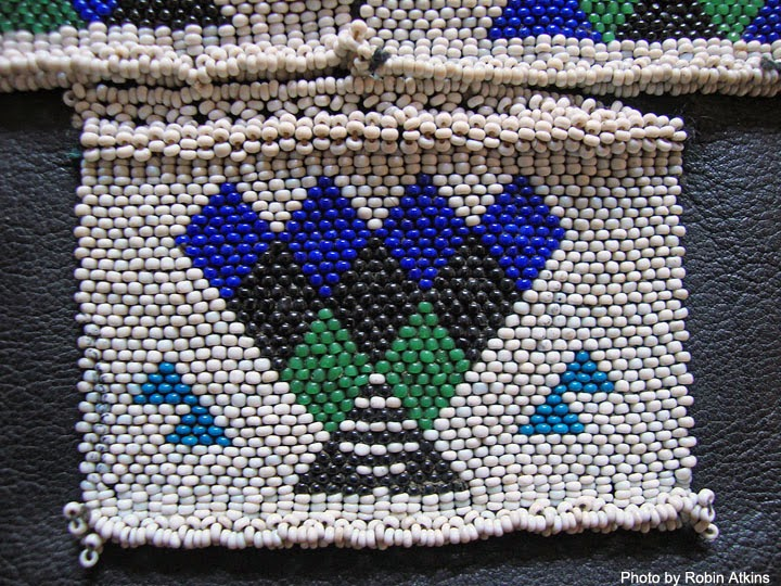 South African Zulu beadwork - man's apron - detail showing woven panel