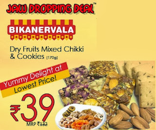 Bikanervala-Almond, Raisins, Cashew Nuts, Dates, Apricot Chikki with Cookies, All worth Rs.132 for Rs.39 Only (Rs.34 Shipping Charges)