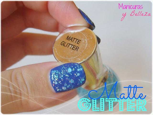 manicura azul matte glitter yes love total blue nails nail art uñas decoradas decoración