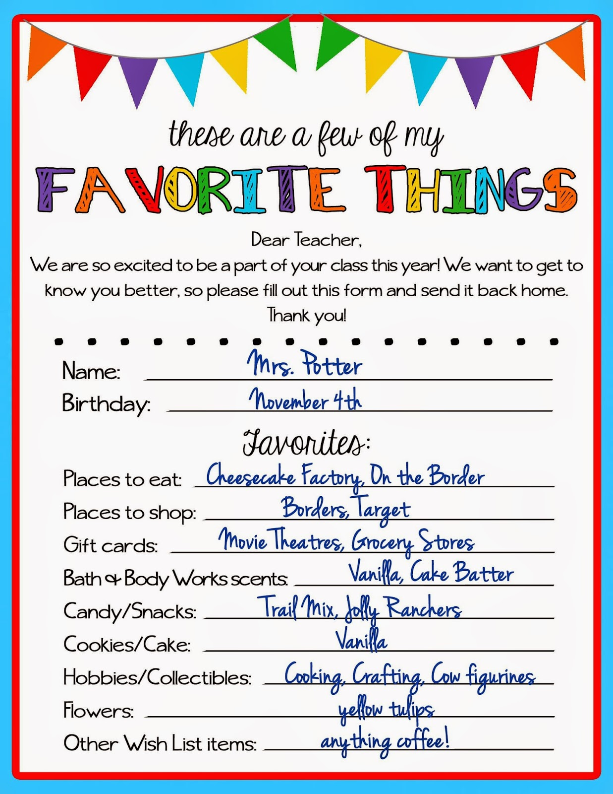 picture about Teacher Favorite Things Printable identified as Kicking Ass Composing: Trainer Beloved Aspects Questionnaire