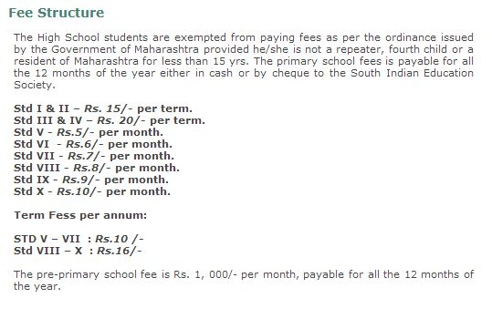 South Indian Education Fees Structure