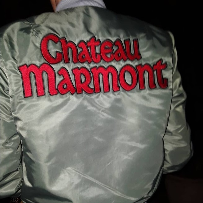 "klaus guingand artwork textile""Chateau Marmont Bomber Jacket"" - 2018"