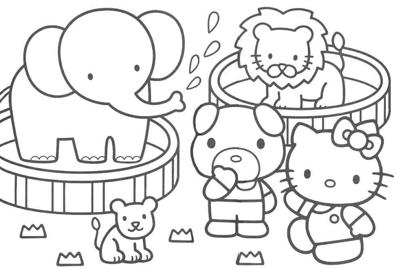 HELLO KITTY AT THE ZOO COLOURING PAGE title=