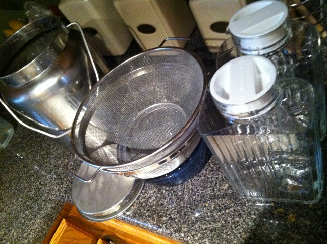 Supplies I use for milking: steel pail, colander, and glass storage jars.