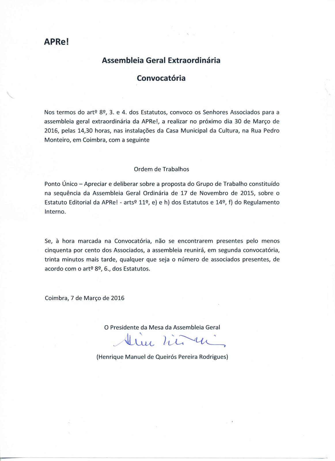 Convocatória para Assembleia Geral Extraordinária da APRe! 30 de Março 2016