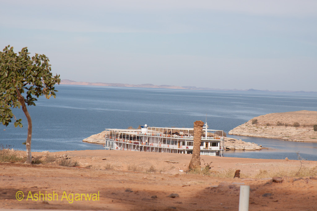 Cruise ship with the background of the blue water of Lake Nasser in south Egypt