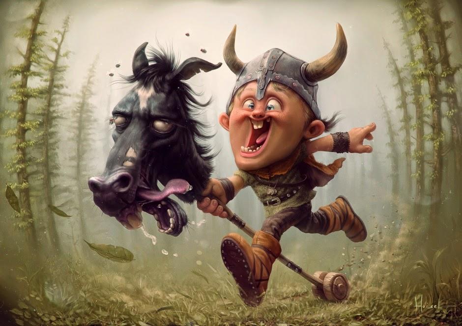 illustration de Tiago Hoisel représentant un petit viking sur un jouet cheval