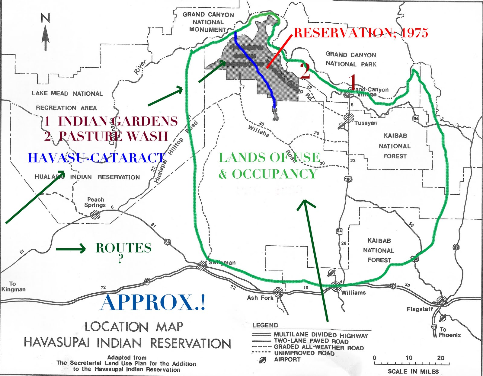the several green arrows suggest some of the proposed migration routes that brought the havasupai to havasu cataract canyon shown in blue