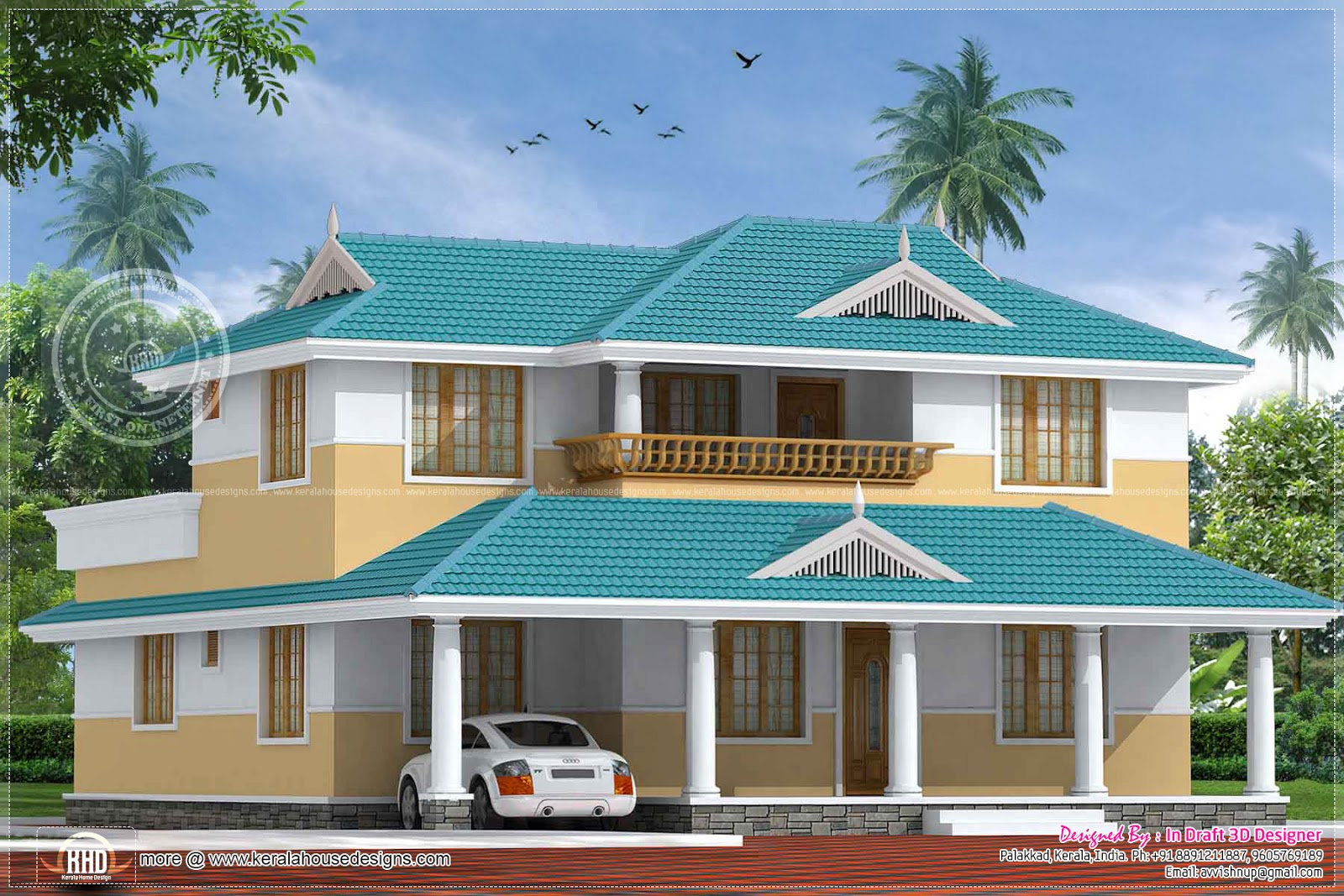 5 bedroom beautiful kerala home in 2324 house for Nice home plans