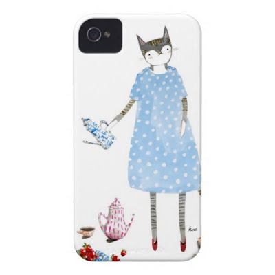 gouache painting, cat, fashion, polka dot, teapot, and strawberries illustration  /  iphone case