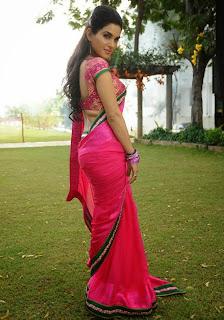 Kavya Singh in Red Kanjiwaram Saree and Blouse Spicy Indian Beauty
