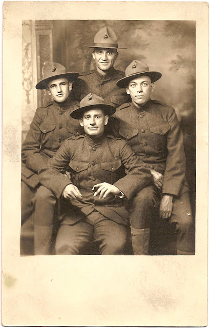 William Samuel Bean with three other men all in unmarked uniforms during World War I