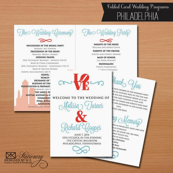 Philadelphia Wedding Programs by Designed By M.E. Staitonery