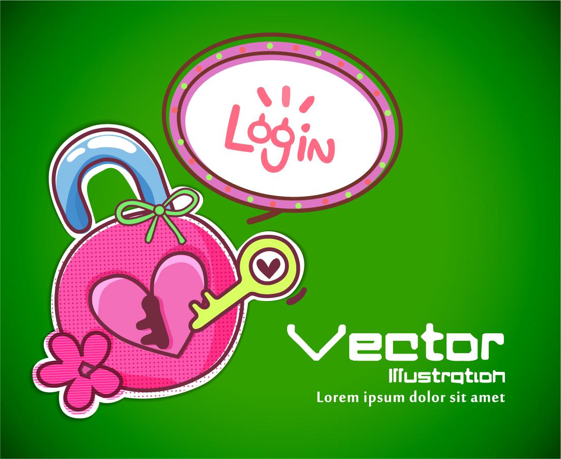 ハート型錠のログイン画面 heart lock and key background イラスト素材