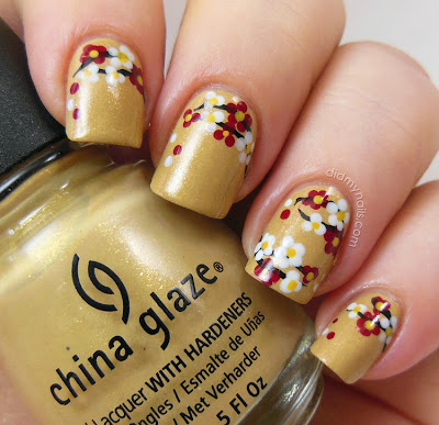 Chinese New Year flower nail art