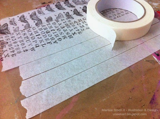 Creating Washi Tape with masking tape; STEP 1 Lay down masking tape