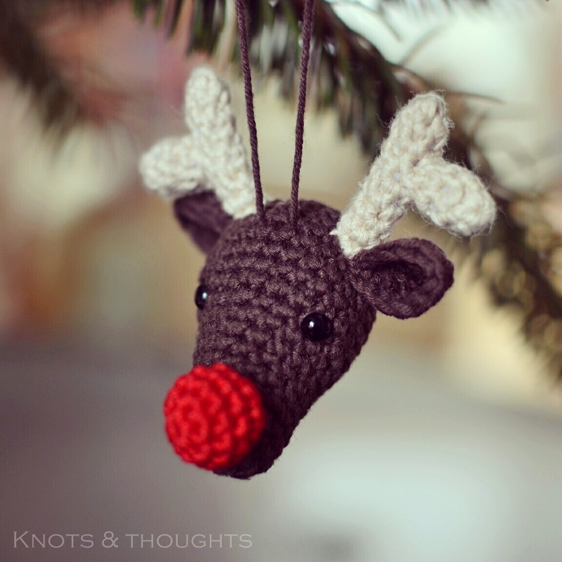 Free Crochet Reindeer Ornament Patterns : Knots and Thoughts: Rudolph the Reindeer - Christmas ...