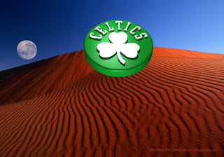 Boston Celtics desktop Wallpapers Up Rotated Logo in classic Red Moon Desert background