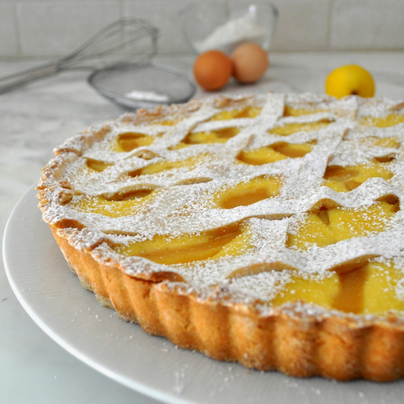 ... moist ricotta and pear filling, over a crumbly, sweet and lemony crust