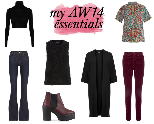 AW14 essentials for the seventies trend; poloneck, paisley shirt, faux fur gilet, flared jeans, duster jacket, platform boots and cords