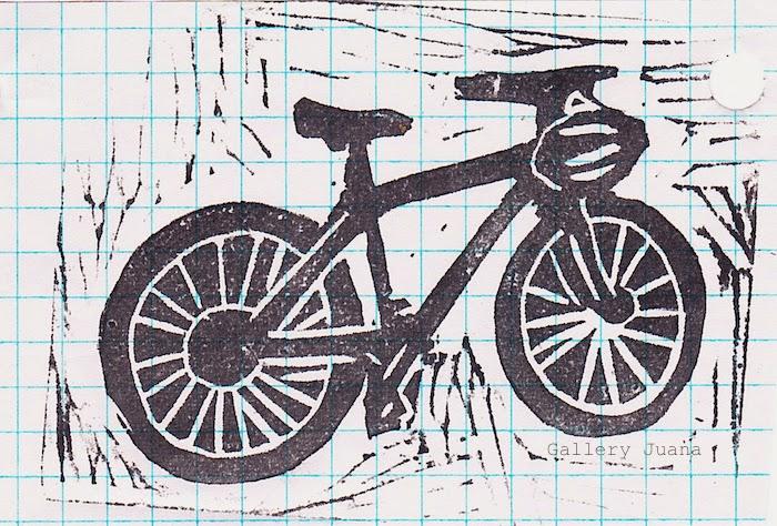 bike linocut, gallery juana
