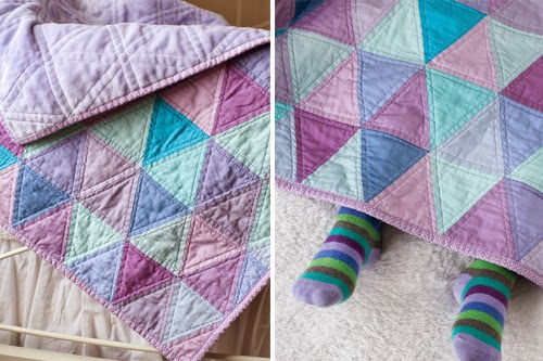 Purple and Turquoise Triangle Quilt - Free Pattern