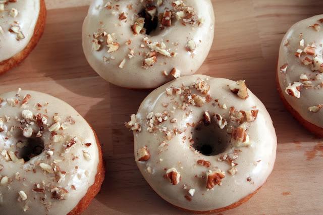 Brown sugar maple pecan donuts