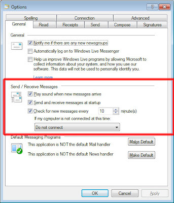 How to set auto send receive in Windows Live Mail