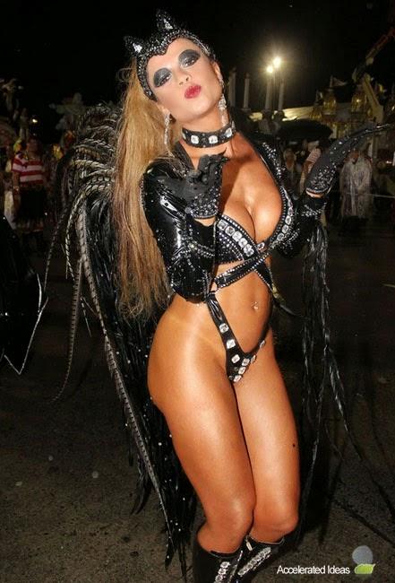 Cacau Colucci Wears Sexy Catwoman Costume - Brazil Carnival 2014