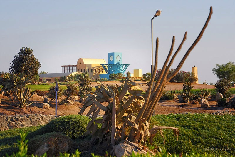 A view of a Michael Graves villa in El Gouna, Egypt
