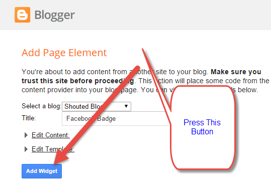 Add Your Facebook Page Badge To Your Blogger Blog