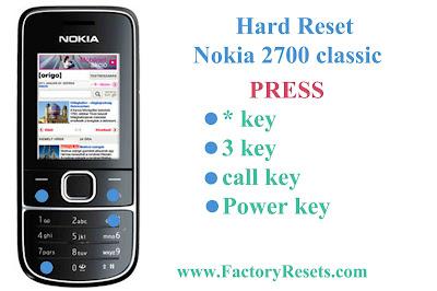 Hard Reset Nokia 2700 classic
