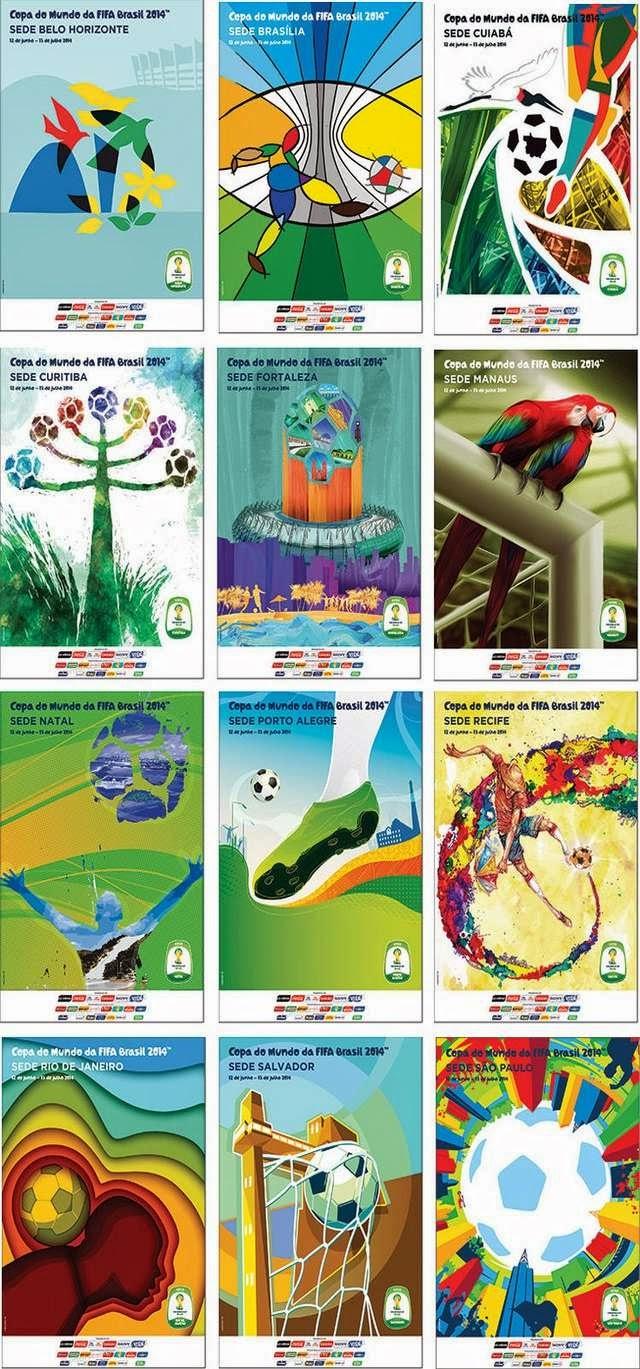 Afiches oficiales de las 12 ciudades anfitrionas del Mundial Brasil 2014