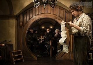 Scene from The Hobbit, featuring Bilbo and the Dwarves