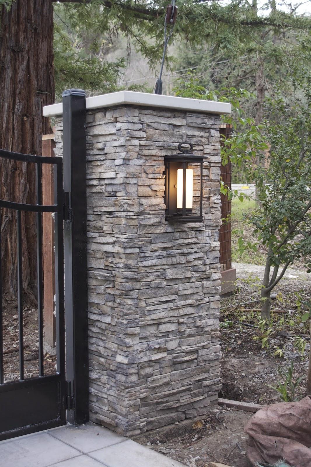 Driveway Pillar Lights : The pillar tops were added as well