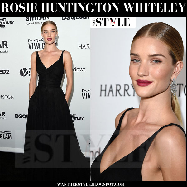 Rosie Huntington-Whiteley in black long gown what she wore red carpet