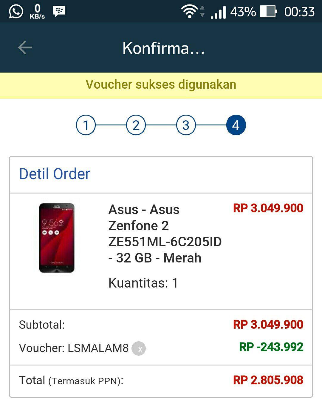 Harga ASUS ZenFone 2 Lazada September 2015