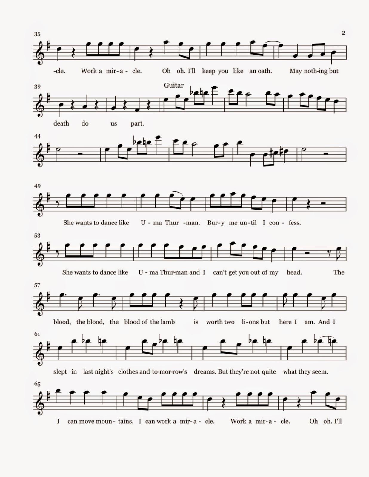 Flute Sheet Music: Uma... Uma Thurman Lyrics