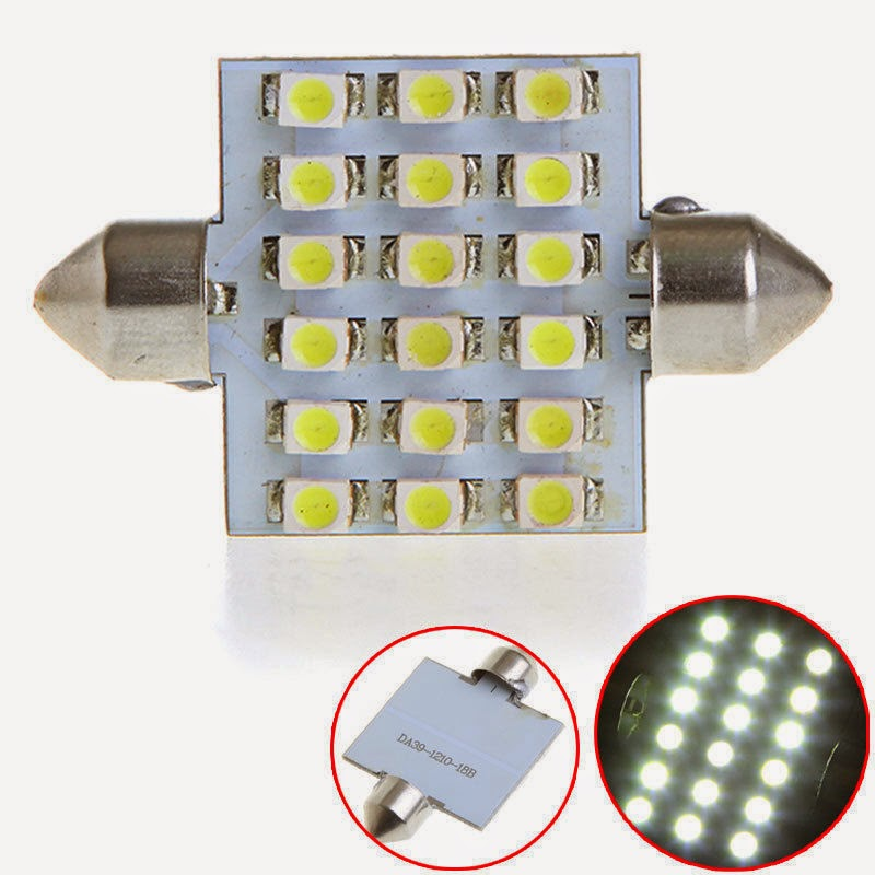 39mm 18 LED 1210 SMD Car Interior Dome Festoon Light Lamp Bulb DC 12V White