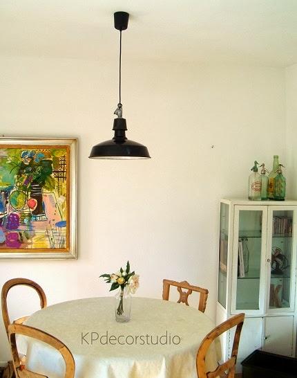 Decoración estilo industrial, Lámparas de techo francesas industriales metálicas color negro esmaltadas