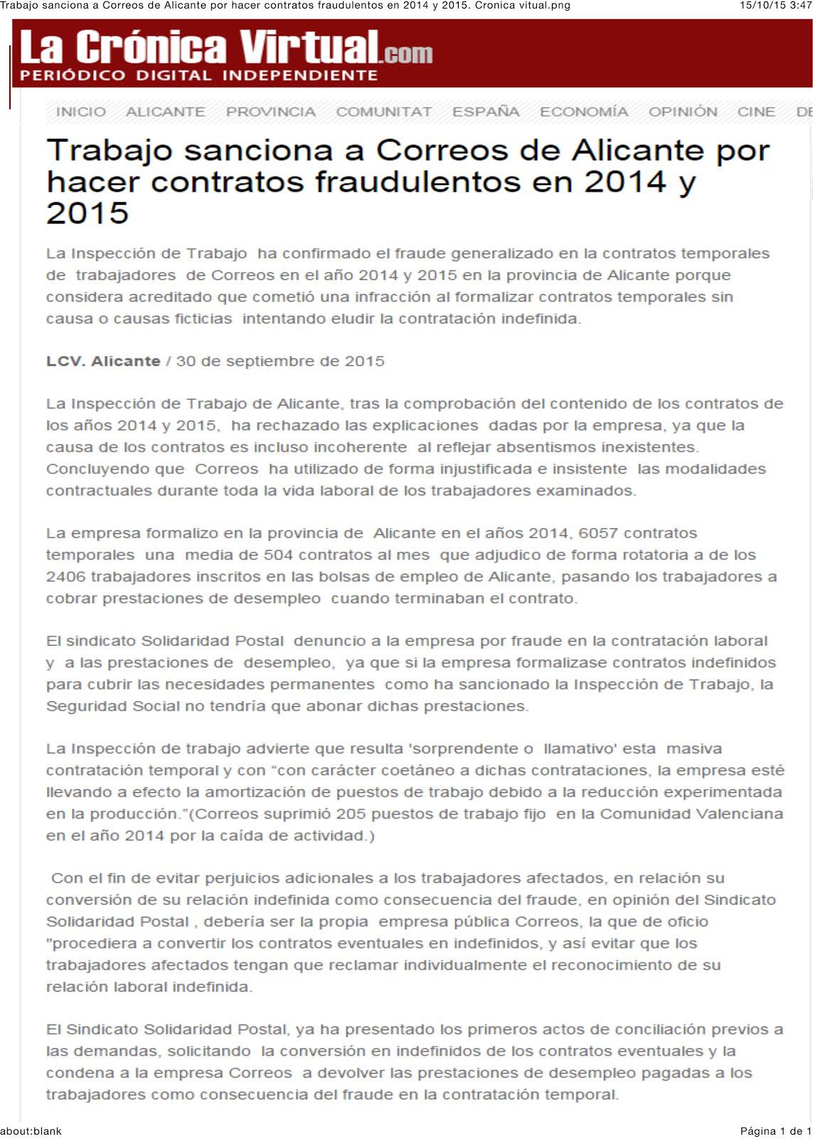 30092015-PRENSA-Trabajo sanciona a Correos por hacer contratos fraudulentos en 2014 y 2015.