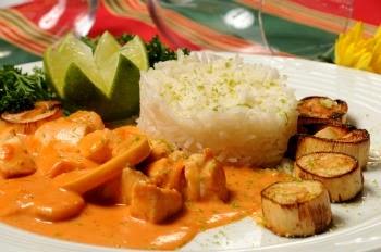 Saiba como fazer strogonoff de frango com alta qualidade. Foto de um prato montado com arroz e especiarias.