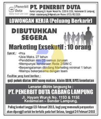 Lowongan Kerja Lampung, Senin 23 Februari 2015 di PT. Penerbit Duta Cabang Lampung
