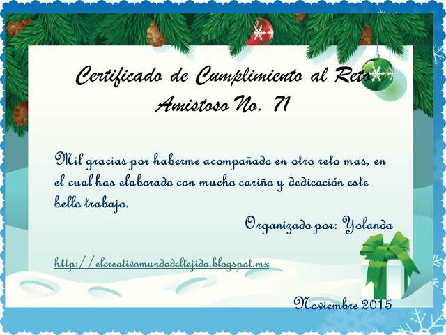 Certificado de cumplimiento nº 71